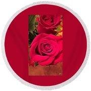 Scarlet Roses Round Beach Towel