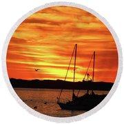 Scarlet Sunrise On Provincetown Pier 1  Round Beach Towel