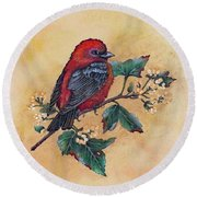 Scarlet Tanager - Acrylic Painting Round Beach Towel