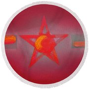 Scarlet Vermillion Round Beach Towel