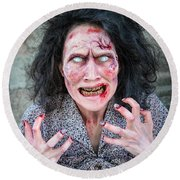 Scary Angry Zombie Woman Round Beach Towel
