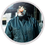 Scary Clown With Coat Round Beach Towel
