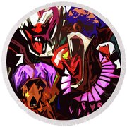 Scary Clowns Abstract Round Beach Towel