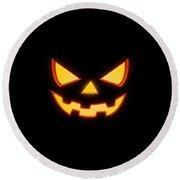 Scary Halloween Horror Pumpkin Face Round Beach Towel