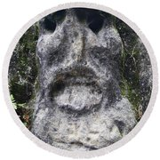 Scary Stone Head Round Beach Towel