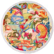 Scattered Round Beach Towel