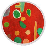 Scattered Things Over Red  Round Beach Towel