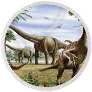 Scelidosaurus, Nothronychus Round Beach Towel