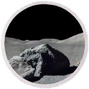 Scene From Apollo 17 Extravehicular Round Beach Towel