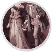 Scene From Much Ado About Nothing By William Shakespeare Round Beach Towel