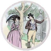Scene From Sense And Sensibility By Jane Austen Round Beach Towel