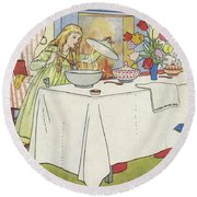 Scene From The Story Of Goldilocks And The Three Bears Round Beach Towel