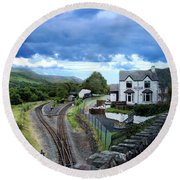 Scene In Snowdonia National Park In Wales Round Beach Towel