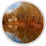 Scene In The Forest - Allaire State Park Round Beach Towel
