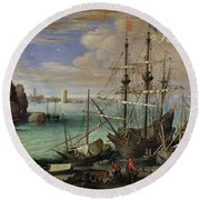 Scene Of A Sea Port Round Beach Towel by Paul Bril