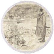 Scene Of A Strike (third Plate) Round Beach Towel