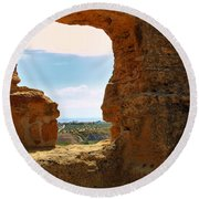Scene Through Antiquity Round Beach Towel
