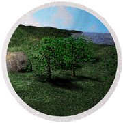 Scenery Round Beach Towel by James Barnes
