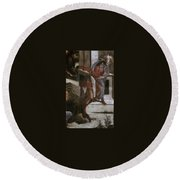 Scenes From The Life Of Moses Detail Alessandro Botticelli Round Beach Towel
