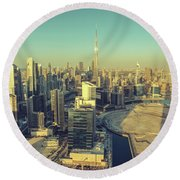 Scenic Aerial View Of Dubai Round Beach Towel
