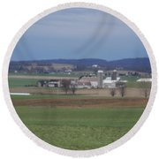 Scenic April Amish Vista Round Beach Towel