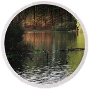 Scenic Elder Lake Round Beach Towel