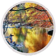 Scenic New Jersey Fall Fly Fishing  Round Beach Towel