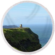 Scenic O'brien's Tower A Top The Cliff's Of Moher In Ireland Round Beach Towel