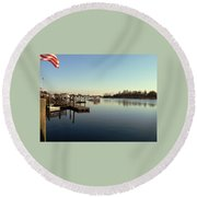 Scenic River 01 Round Beach Towel