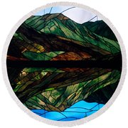 Scenic Stained Glass  Round Beach Towel
