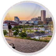 Scenic View From Federal Hill Round Beach Towel