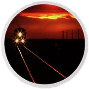 Scenic View Of An Approaching Trrain Near Sunset Round Beach Towel