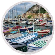 Scenic View Of Castle Hill And Marina In Nice, France Round Beach Towel