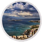 Scenic View Of Eastern Crete Round Beach Towel by David Smith