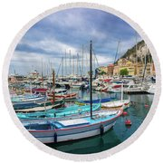 Scenic View Of Historical Marina In Nice, France Round Beach Towel