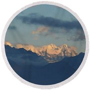 Scenic View Of The Dolomite Mountains With Snow  Round Beach Towel