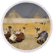 Scenic View Of The Giza Pyramids With Sitting Camels Round Beach Towel