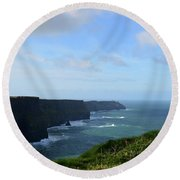Scenic Views Of Ireland's Cliff's Of Moher In County Clare Round Beach Towel