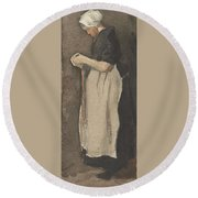 Scheveningen Woman The Hague, November - December 1881 Vincent Van Gogh 1853  189 Round Beach Towel