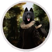 Schipperke Art Canvas Print - Forest Landscape With A Hunter And Noble Lady Round Beach Towel