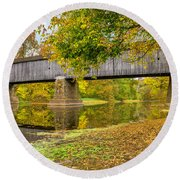 Schofield Bridge Over The Neshaminy Round Beach Towel