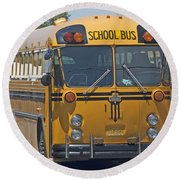 School Bus Round Beach Towel