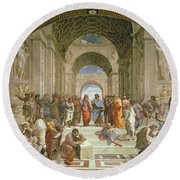School Of Athens From The Stanza Della Segnatura Round Beach Towel by Raphael