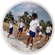 School Trip To Beach IIi Round Beach Towel