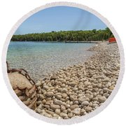 Schoolhouse Beach Washington Island Round Beach Towel