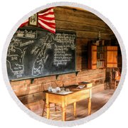 Schoolhouse Classroom At Old World Wisconsin Round Beach Towel