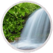 Schoolhouse Falls In Panthertown Valley North Carolina Round Beach Towel