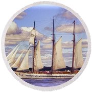 Schooner Mystic Under Sail Round Beach Towel
