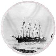 Schooner Shipwreck Round Beach Towel