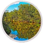 Schroon River Reflection In The Adirondacks-new York Round Beach Towel